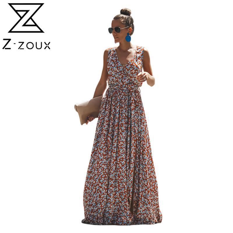 Longue Robe En Mousseline De Soie Florale Robe Florale Style Boho Maxi Tenue De Plage Col En V Sans Manches Fente Taille Haute Ete Z Zoux Aliexpress