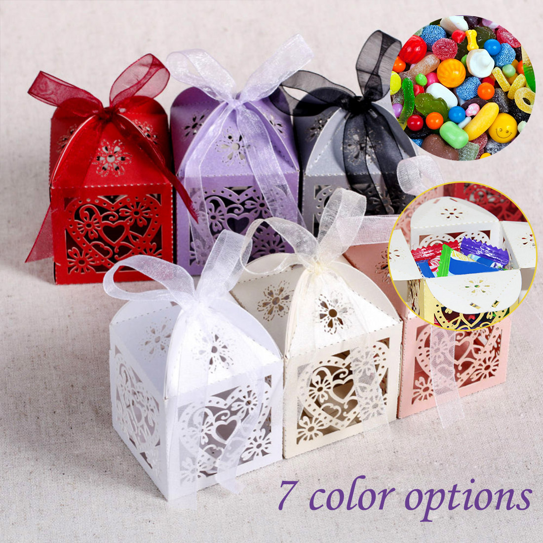 50pcs Laser Cut Hollow Cute Carriage Favors Box Gifts Candy Boxes With Ribbon Baby Shower Wedding Birthday Event Party Supplies