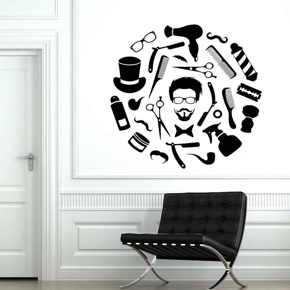 ヘアサロンビニールウォールステッカー美容サロン顔髪型スタイル髪の男ひげ床屋北欧家の装飾壁紙 C251