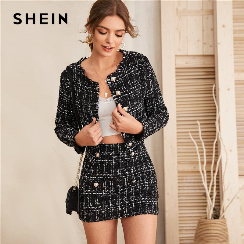 SHEIN Black Raw Trim Tweed Crop Jacket And Button Detail Skirt Set Women Spring Elegant Two Piece Sets Slim Fitted Outfits