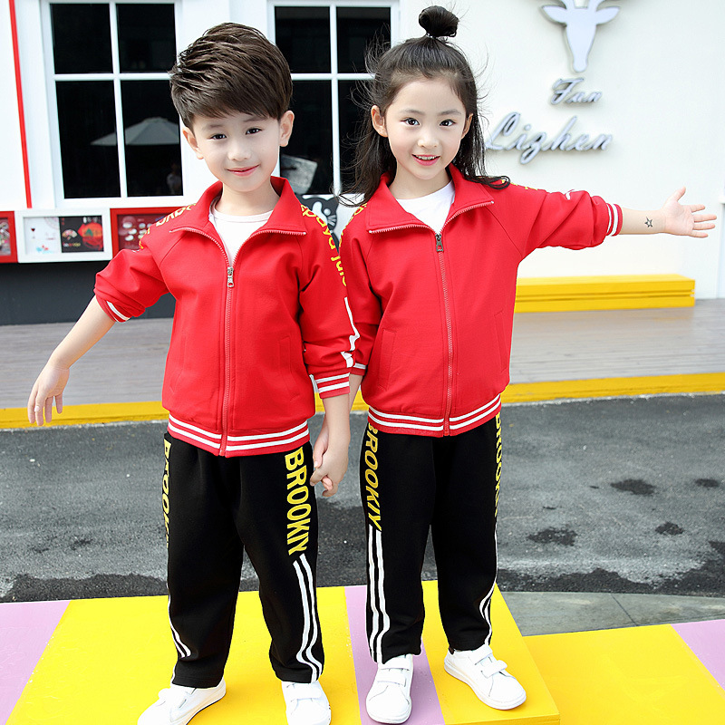 Kindergarten Suit Spring And Autumn 2018 New Style Men And Women Children Young STUDENT'S Red Autumn And Winter New Style Sports