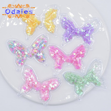 12Pcs/lot Shake Shake Star Butterfly Appliques Bling Flowing Sequins Animal Patches Baby Girl Accessory Stick-On Baby Hat Supply