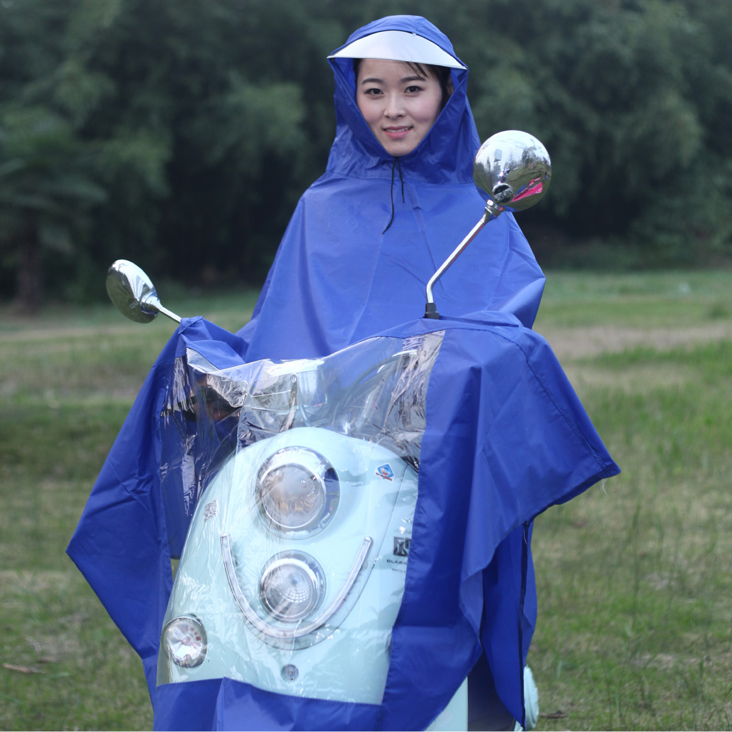Behogar Universal Waterproof Hooded Raincoat Rain Cape Coat Poncho for Mobility Scooters Motorcycle Motorbikes Bicycle Blue