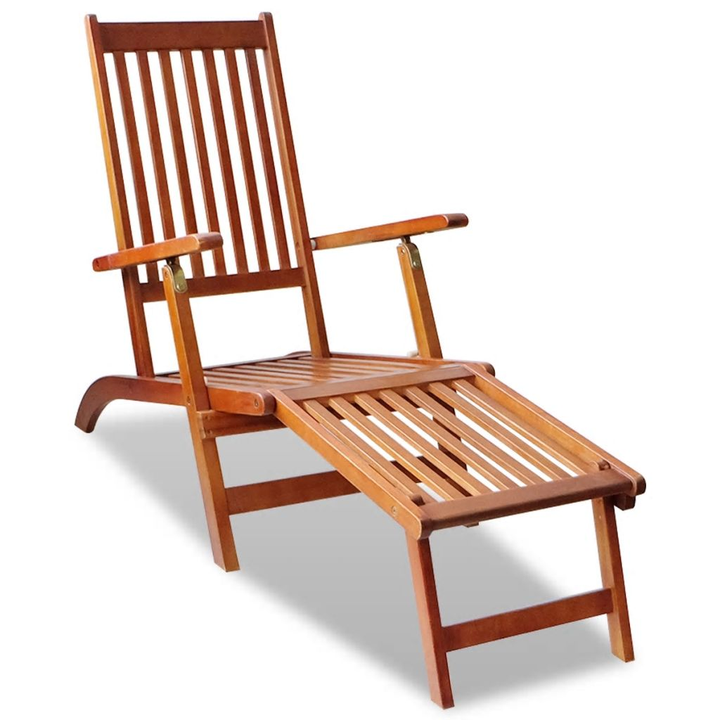 Furniture-Chair Balcony Garden Outdoor Modern Wood with Footrest Solid Acacia Deck Recliner