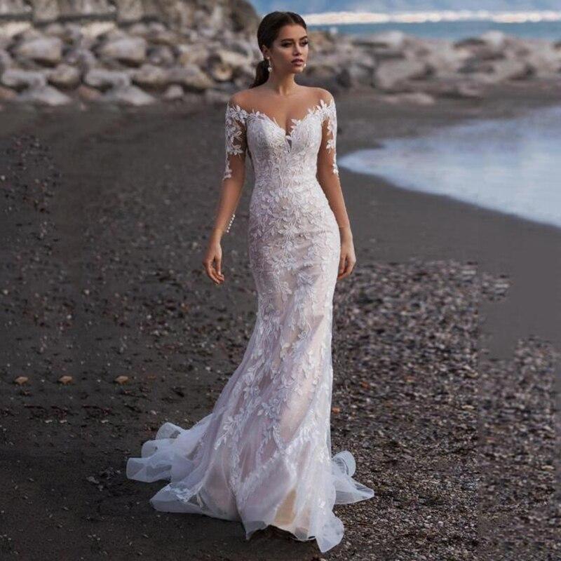 Mermaid Wedding Dress Long Sleeves Champagne V Neck Bridal Dress With Lace Appliques Custom Made Beach Wedding Dress Trouwjurken