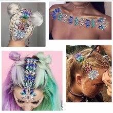 цена на Temporary Rhinestone Festival Shiny 3D Crystal Forehead Headpiece Sticker Hair Jewels Glitter Face Body Gems Tattoo Stickers