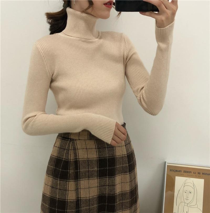 Women Turtleneck Sweaters Autumn Winter Korean Slim Pullover Women Basic Tops Casual Soft Knit Sweater Soft Warm Jumper 3