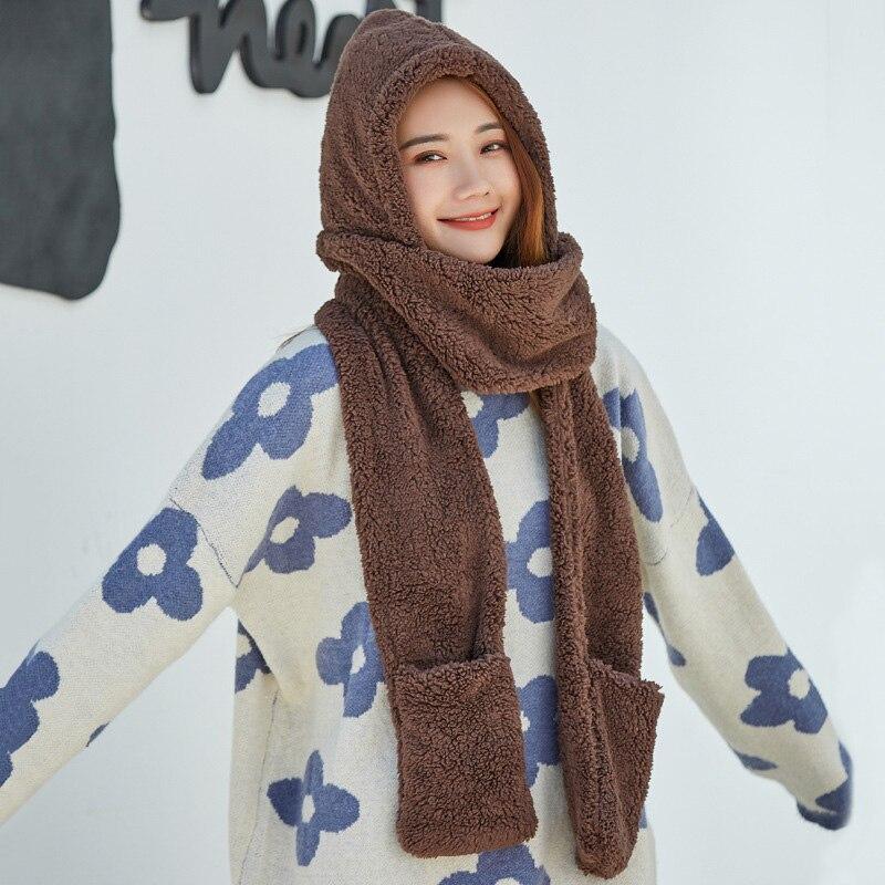 3 In 1 Women Warm Hood Scarf Snood Pocket Gloves Hat Cute For Winter Outdoor JL