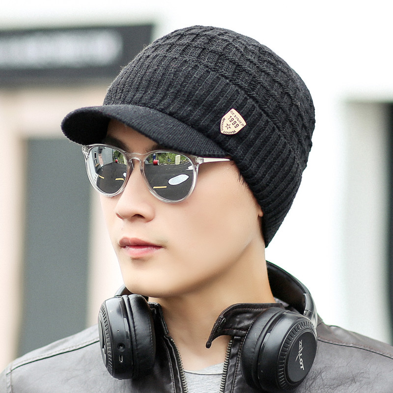 2019 autumn and winter new knitted   baseball     cap   male outdoor windproof   cap   plus velvet thick warm hat