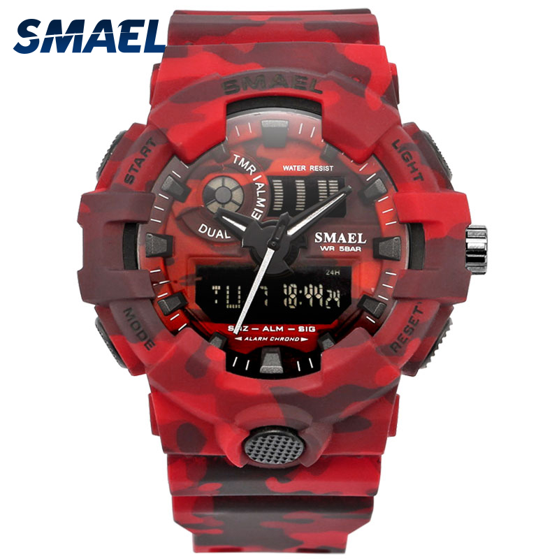 New Camo Watch Strap SMAEL Men Digital Watches Big Dial Fashion Camouflage Military Watch 8001 Mens Army Watch Waterproof Clock