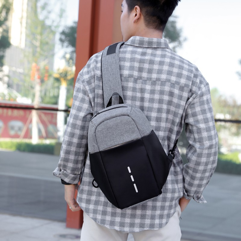 Hot Sales Men Summer Casual Shoulder Oblique Small Chest Bag Wear-Resistant Anti-Theft USB Rechargeable Light Chest Pack