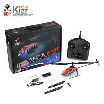 XK k127 Self Stabilizing 6-Axis Gyroscope 4CH One Key Take Off Landing Flybarless Altitude Hold RC Helicopter RTF For Kids 6