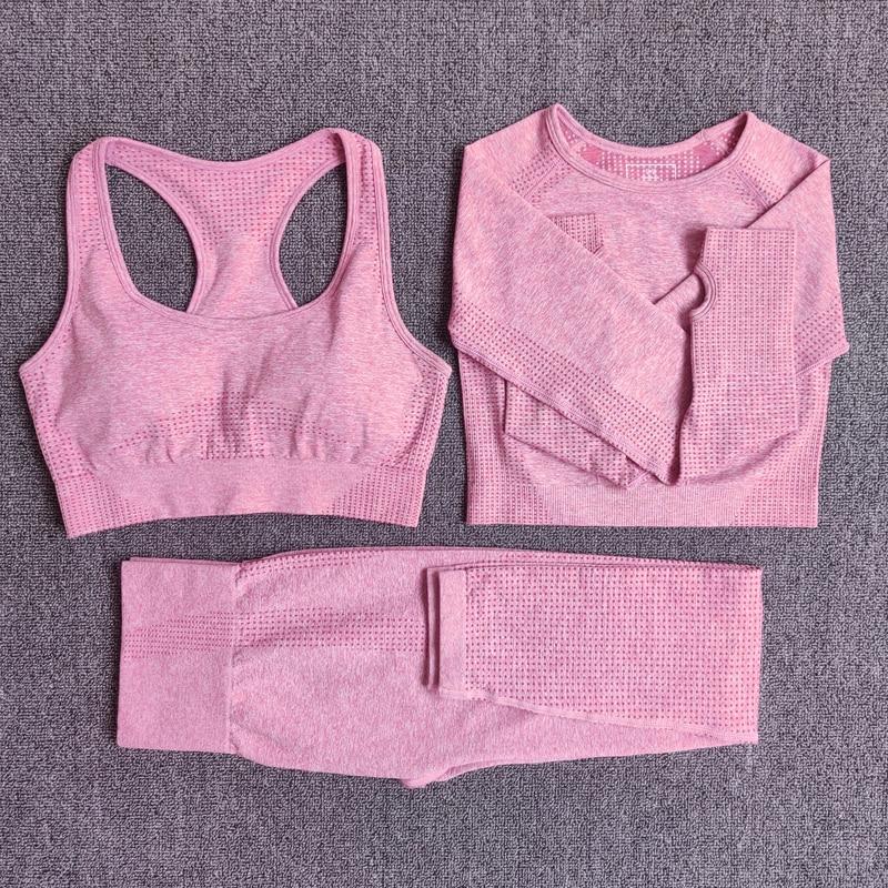 3pcsSetPink - Women Seamless Yoga Set Fitness Sports Suits