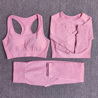 3pcsSetPink - Women Seamless Yoga Set Fitness Sports Suits