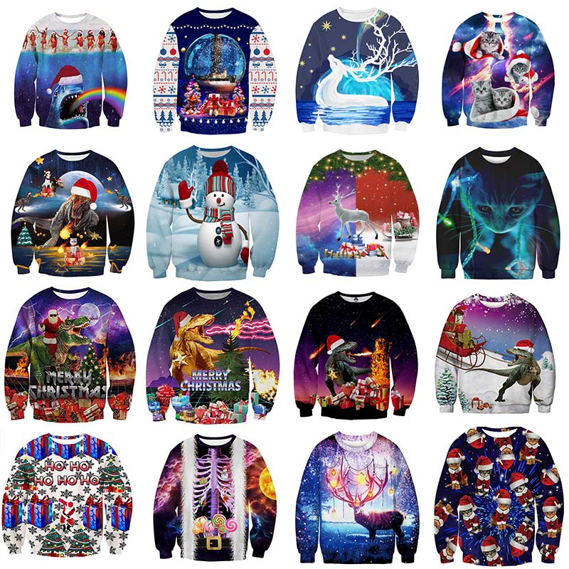 Ugly Christmas Sweater Santa Claus Print Loose Hoodie Men Women Pullover Christmas Novelty Funny Dark Series  Autumn Winter Tops
