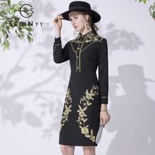 SEQINYY Black Dress 2020 Autumn Winter New Fashion Design Golden Flowers Embroidery Sheath Knee Dress Women