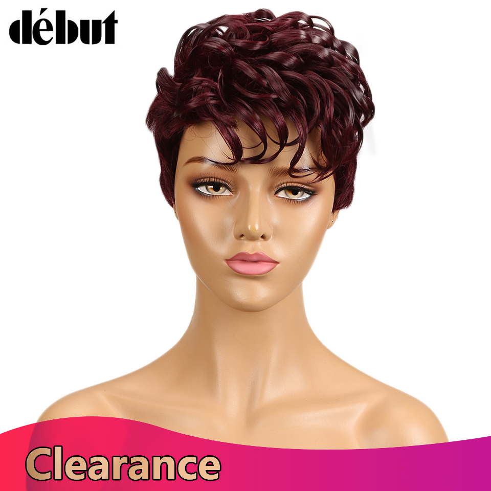 Debut Brazilian Remy Hair Human Hair Wigs For Women Curly Water Wave Ladies Short Hair Wigs Curly Pixie Wig Sales
