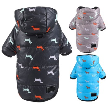 Autumn Winter Clothes For Dogs Dachshund Printed Cotton Down Jacket With Leash Ring Thicken Hoodie For Small Medium Dogs Puppy 1
