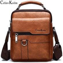 Роскошные Брендовые мужские сумки мессенджеры Celinv Koilm, деловая Повседневная сумка через плечо, мужская сумка из спилковой кожи, большая вместимость