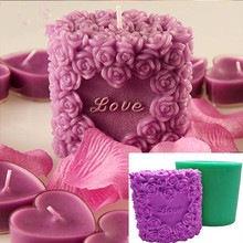 3D Apple Heart Shape Candle Mold DIY Rose Flower Square Candle Making Mould Soap Silicone Molds Plaster Aromatherapy Decor