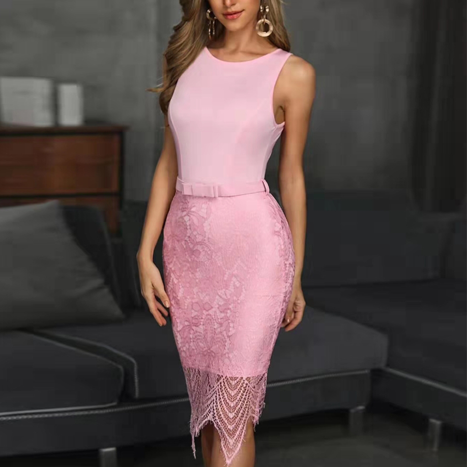 Adyce Pink Lace Up Hollow Out Bandage Dress Women Vestidos Sexy  Summer Sleeveless Long Bodycon Celebrity Evening Party Dress