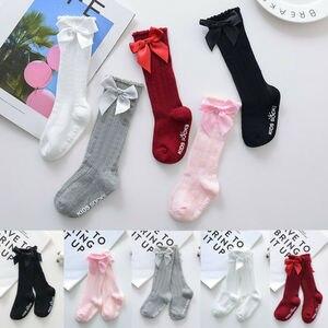Новые носки для маленьких девочек хлопковые Дышащие носки для новорожденных, с кружевным бантом, для малышей от 0 до 4 лет гольфы для маленьк...