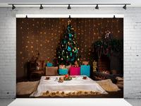 VinylBDS 10x10ft Christmas Photography Backgrounds Indoor Christmas Decorations For Home Tree Washable Photo Shoot Backdrop