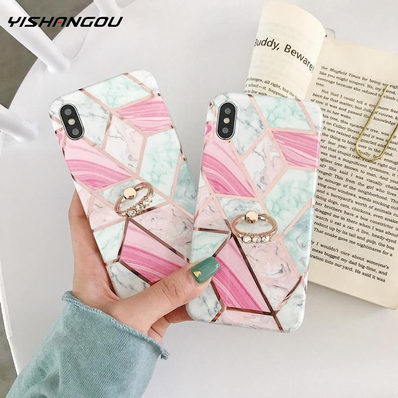 Soft IMD Silicon Cover Stand For iPhone Xr X 6 7 Plus 8 Plus 10 X XS MAX Fashion Marble <font><b>Loop</b></font> <font><b>Ring</b></font> <font><b>Phone</b></font> <font><b>Cases</b></font> For iPhone 7 6S image