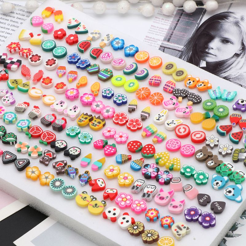 100 Pairs Assorted Styles Polymer Clay Hypoallergenic Stud Earrings Lot for Kids title=