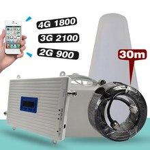 Tri-band booster 2g gsm 900 mhz + 4g dcs/lte 1800 (b3) + 3g umts/wcdma 2100 (b1) repetidor de sinal móvel amplificador de antena celular conjunto