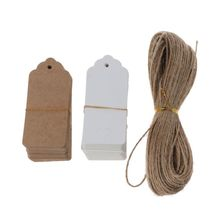 200Pcs White Brown Kraft Paper Blank Gift Tags with 30m String Vintage Wedding Hang Writable Price Tags Art Craft Tags