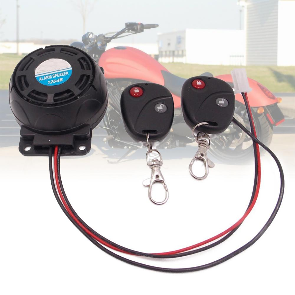 12V Dual Remote Motorcycle Alarm,105-125dB Motorcycle Remote Control Alarm Horn Anti-Theft Security System