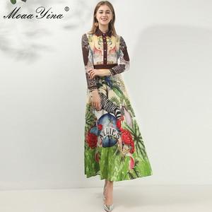 Image 2 - MoaaYina robe de créateur de mode printemps automne femmes robe à manches longues Animal imprimé fleuri Vintage Maxi robes