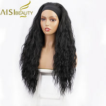 Curly Wigs Headband Synthetic-Wigs Heat-Resistant Natural-Looking Black Long Aisi Beauty