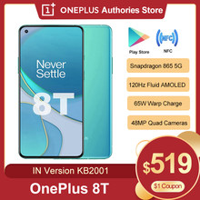 Oneplus 8 t 8 t versão global kb2001 5g smartphone 120hz fluido amoled exibição snapdragon 865 65w urdidura carga do telefone móvel