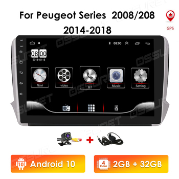 9Inch 2 Din Android 10 Car radio Multimedia Video Player auto Stereo For Peugeot Series 2008 208 2014-2018 GPS Navigation RDS 4G image
