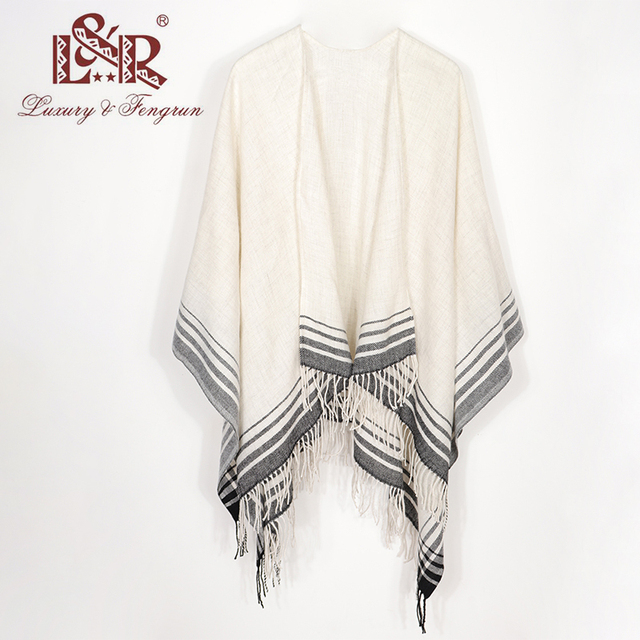 2020 Cashmere Winter Warm Ponchos And Capes For Women Foulard Femme Shawls and Wraps Stripped Pashmina Female Bufanda Mujer 3