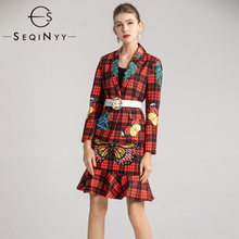 SEQINYY Women Set 2020 Spring Autumn New Fashion Design Blazer White Belt + Mini Skirt Red Plaid Butterfly Printed Suit(China)