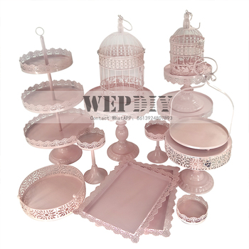 Pink Cake Stand Cupcake Tray 1 Piece Birdcage Birthday Tools Home Decoration Candy Bar Dessert Table Party Supplier