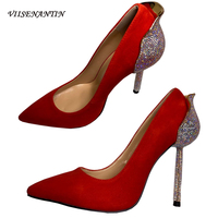 Red Suede Leather Women Pumps Shoes Back Crystal High Heel Luxury Wedding Shoe Hot Sexy Stiletto Pumps Single Shoes High end