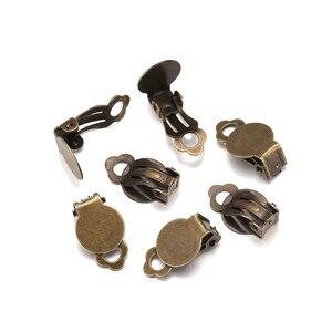 Металлические клипсы для серег, Старое покрытие 10 мм, 50 шт./лот, без проколов, пустая основа для серег «сделай сам»