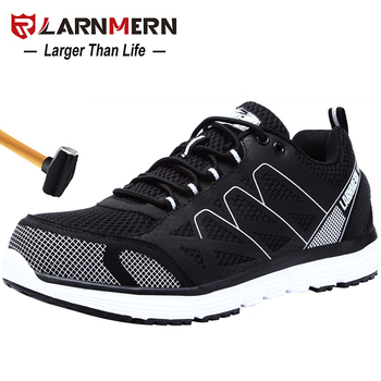 LARNMERN Mens Safety Work Shoes Steel Toe shoes Breathable Lightweight Anti-smashings Non-slip  Reflective Protective shoes