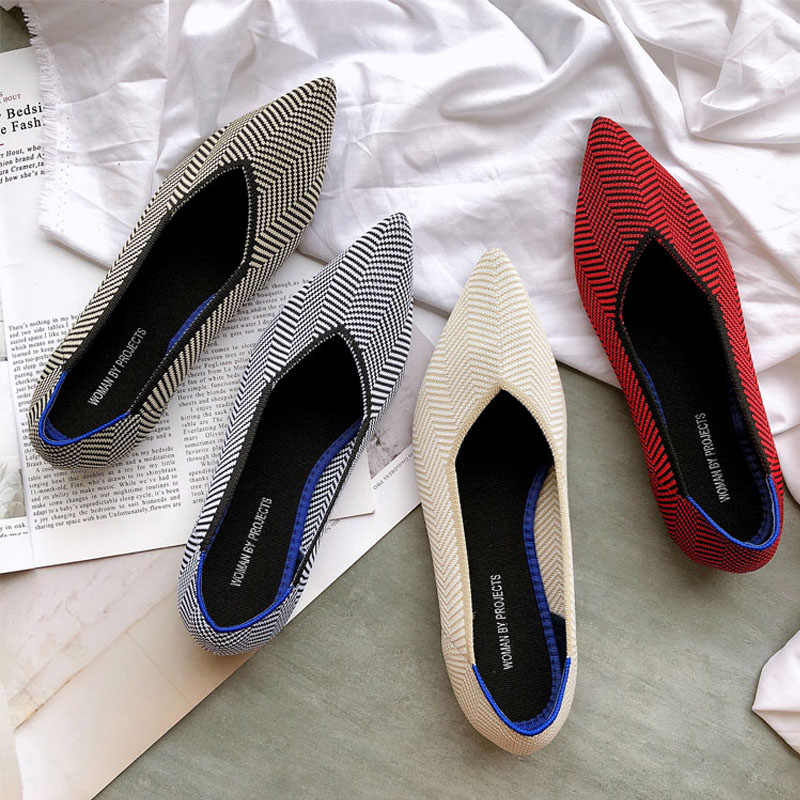 Zapatos planos de primavera elásticos de punto de Color mezclado mocasines transpirables zapatos de trabajo de moda para mujer zapatos planos de conducción ligera mocasines
