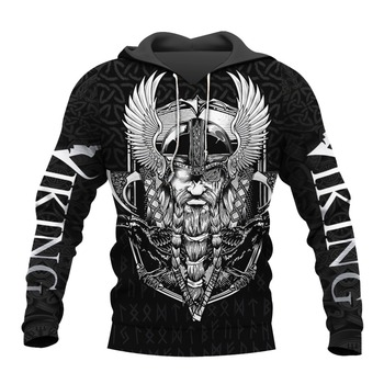 New Viking Tattoo Raven And Odin 3D Printed Men hoodies Harajuku Fashion Hooded Sweatshirt Autumn Unisex hoodie Drop ship H025 1