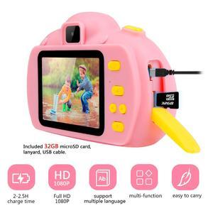 Image 3 - Çocuk Mini çocuk kamera çocuklar için eğitici oyuncaklar bebek hediyeleri dijital kamera 1080P HD özçekim Video kamera ile 32G kart