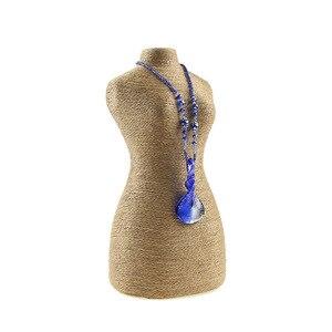 Image 2 - حبل القنب PVC صورة قلادة عرض موقف حامل مجوهرات المعرضة تمثال نصفي شكل الجسم الرقبة مجوهرات عرض موقف 5.7*11.6 بوصة