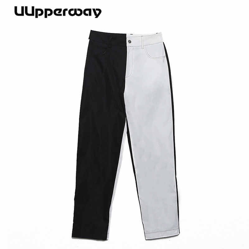 Ladies High Waist Long Pants White Black 2019 Fashion Women Summer Color Block Casual Office Party Trousers Women pantalon femme