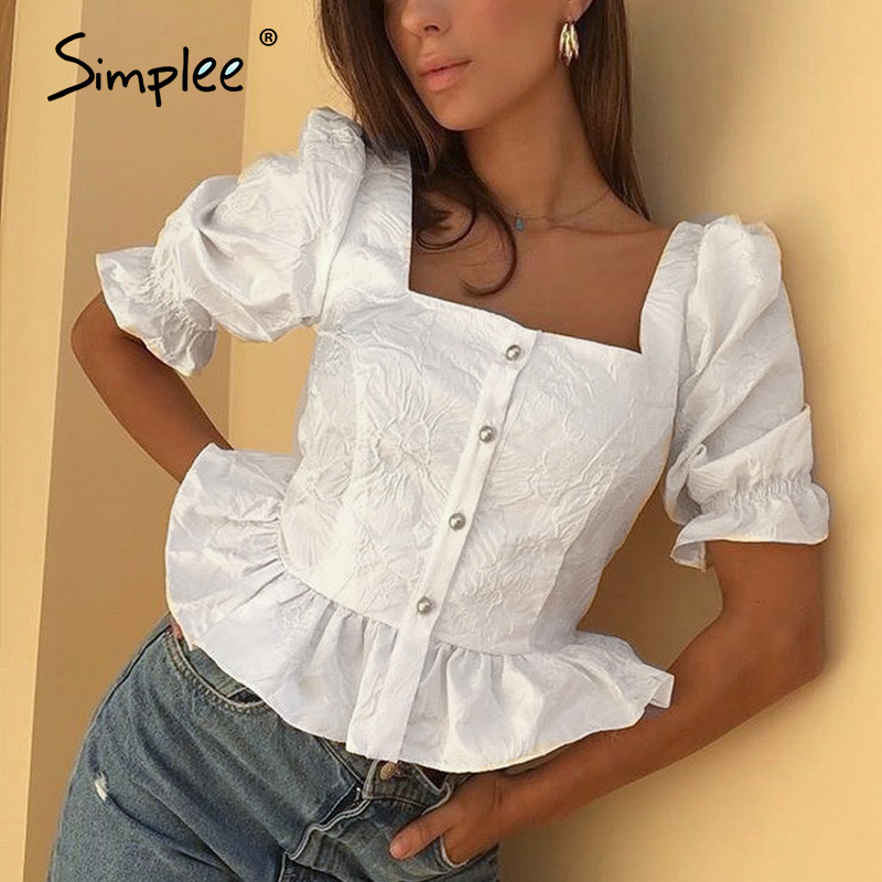Simplee Vintage long sleeve women blouse shirt Elegant ruffle peplum blouse ladies tops High waist sexy white blouse female 2020(China)