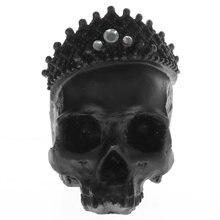 1:1 Lifesize Schädel König Statue Diamant Crown Schwarz Schädel Freizeityacht Monarchen Figurine Regal Crown Skeleton Skulptur Gothic Desktop Decor