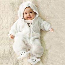 Для маленьких мальчиков и девочек; унисекс; комбинезоны, новорожденный, младенец для малышей, детей, зимняя теплая Фланелевая пижама с рисунками из мультфильмов с капюшоном, комбинезон для детей на Рождество из